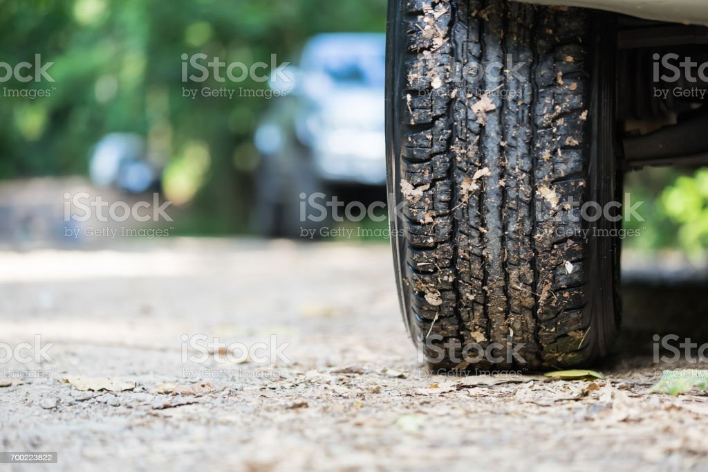 Wheel tire mess up with mud and dirt stock photo
