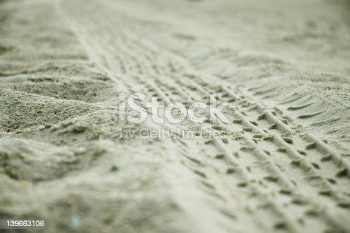 istock wheel trace in the sands 139663106