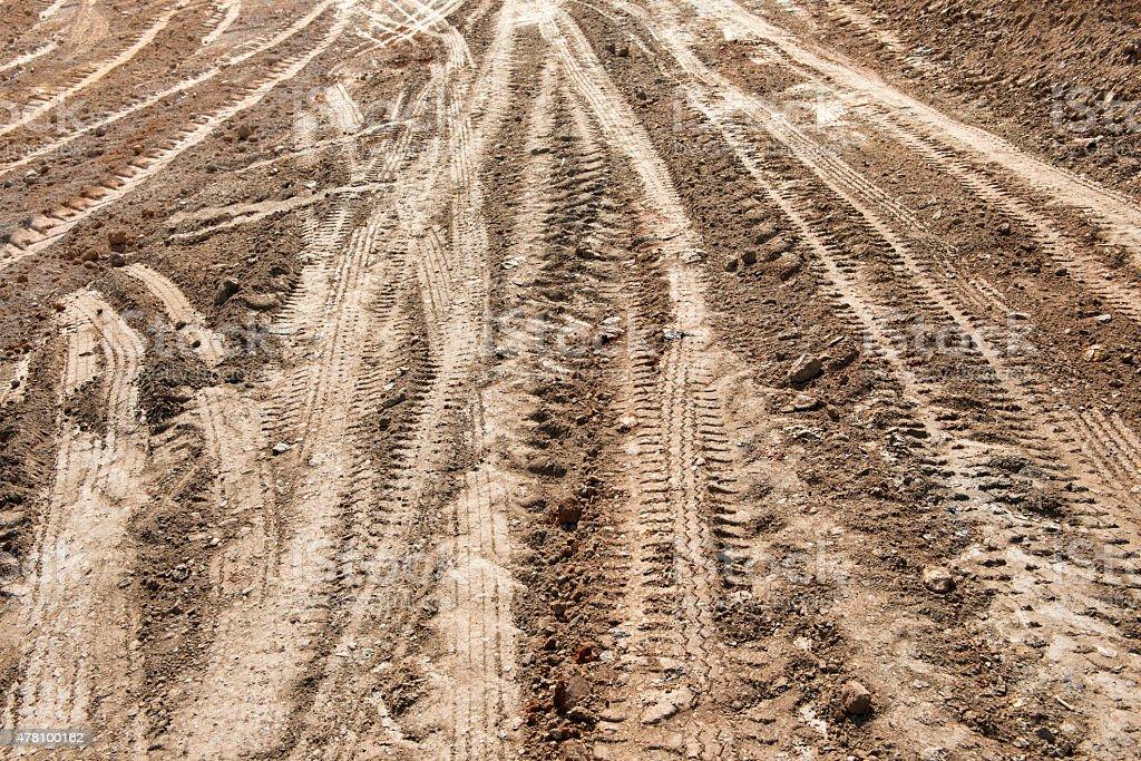 Wheel track on soil stock photo