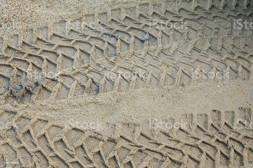 Wheel tracks on the sand. royalty-free stock photo