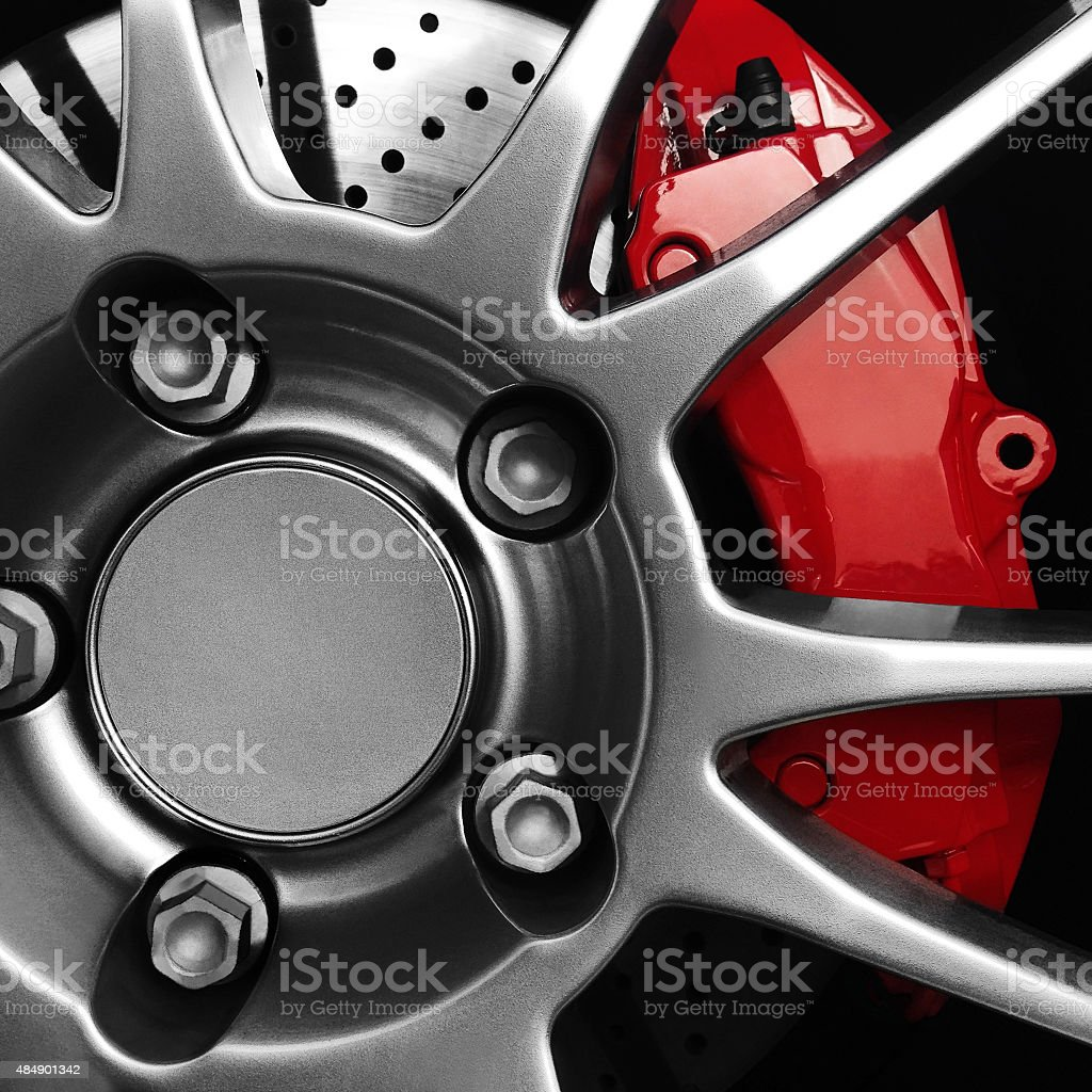 Wheel With A Red Brake Caliper stock photo