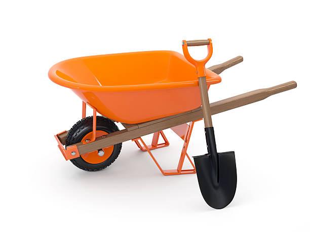 wheelbarrow and shovel - kruiwagen met gereedschap stockfoto's en -beelden