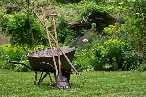 wheelbarrow and tools in the garden - kruiwagen met gereedschap stockfoto's en -beelden