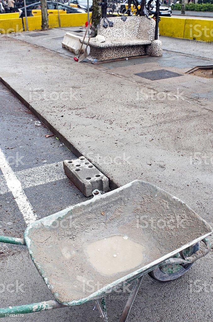 Wheelbarrow as part of repaving project in Barcelona stock photo