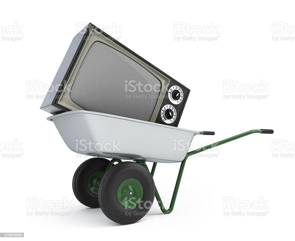 wheelbarrow old tv stock photo