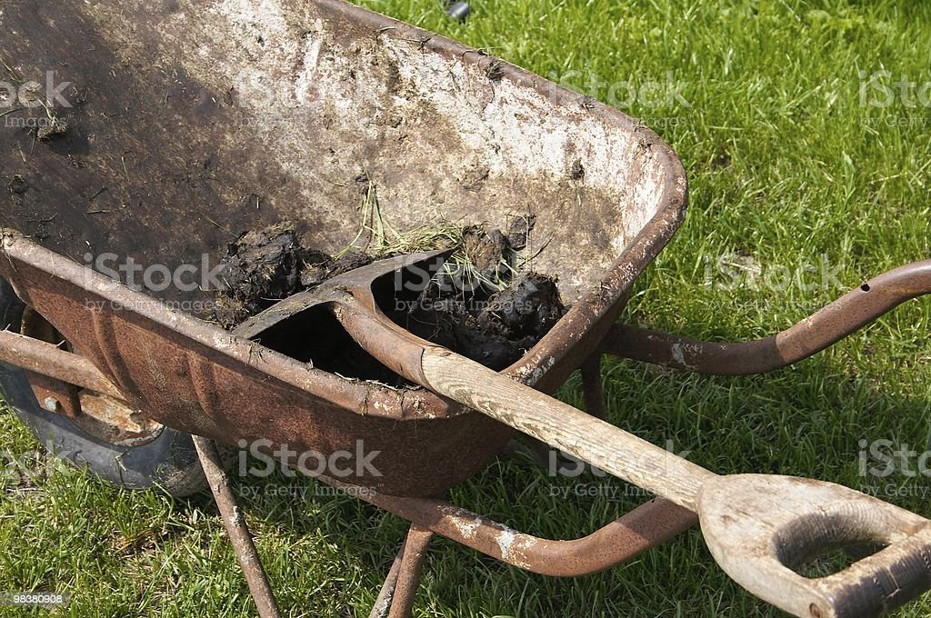 Wheelbarrow topdown stock photo