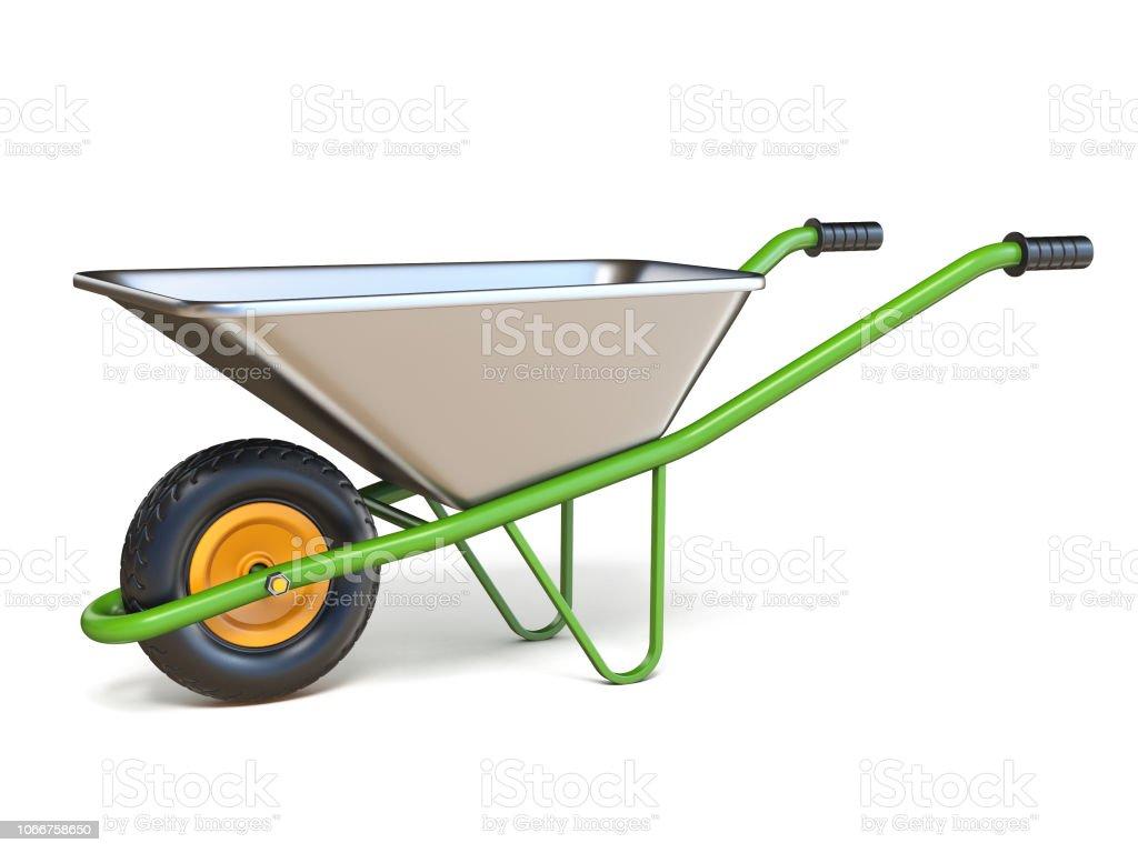 Wheelbarrow with green handles 3D stock photo