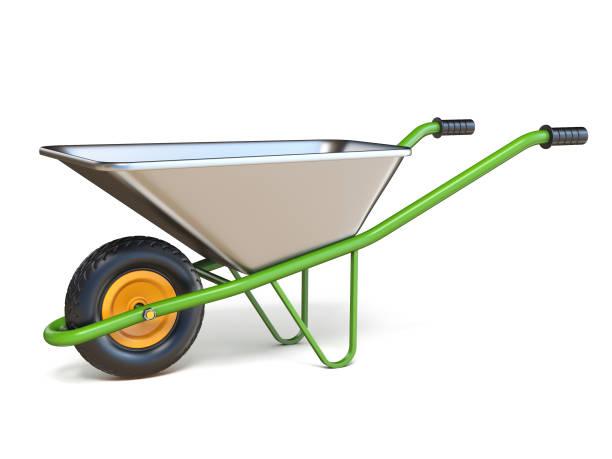 kruiwagen met groene omgaat met 3d - kruiwagen met gereedschap stockfoto's en -beelden