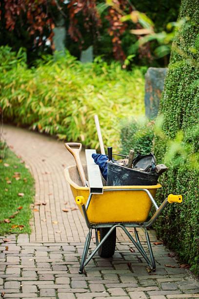 Wheelbarrow with instruments in a garden stock photo