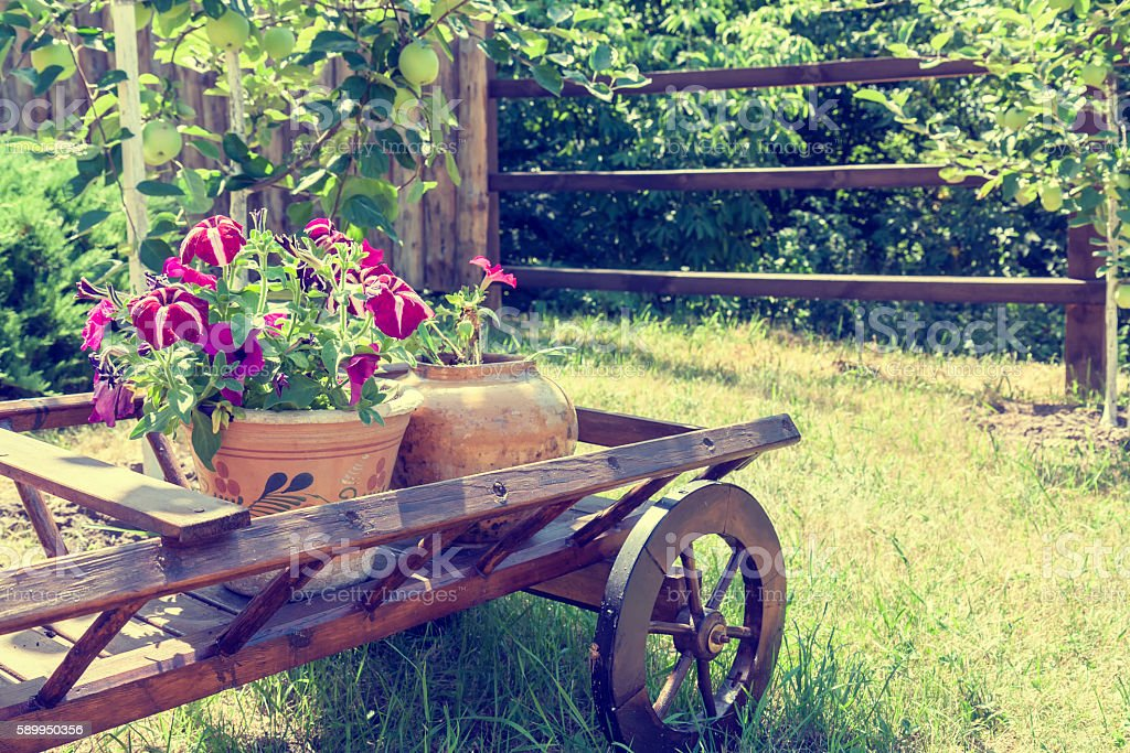 Wheelbarrow wooden decoration with flowers in a garden royalty-free stock photo