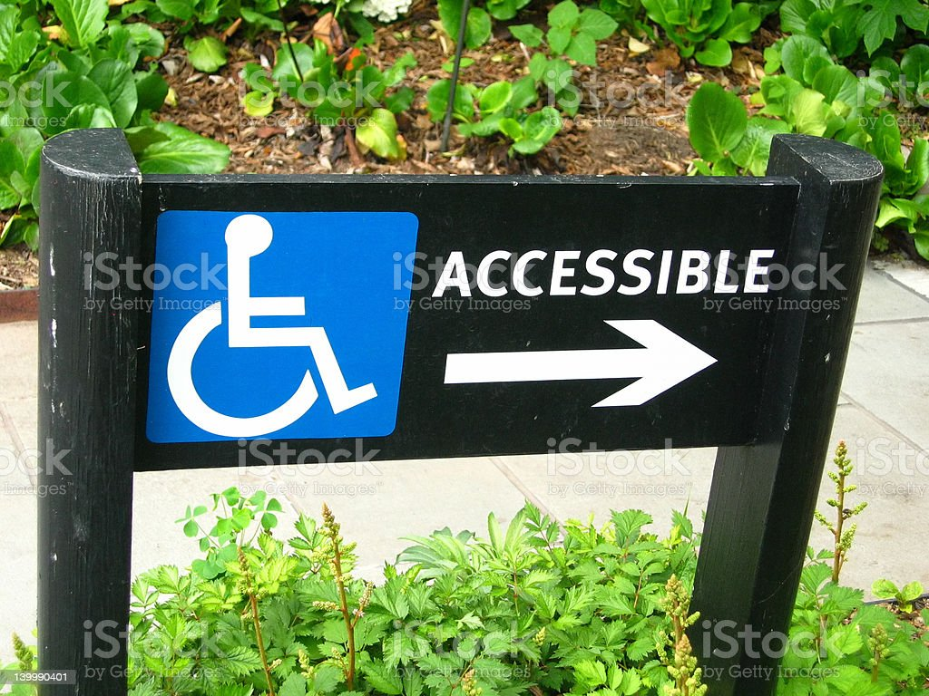 Wheelchair accessible sign pointing right royalty-free stock photo