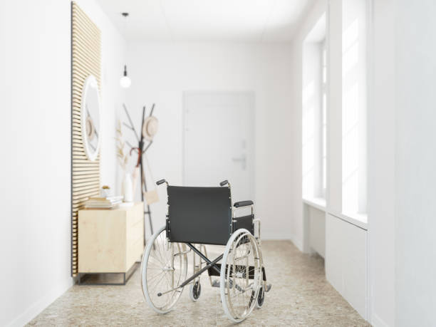 wheelchair alone at home - psychiatric ward stock photos and pictures