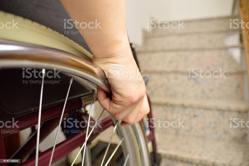 wheelchair and stairs stock photo
