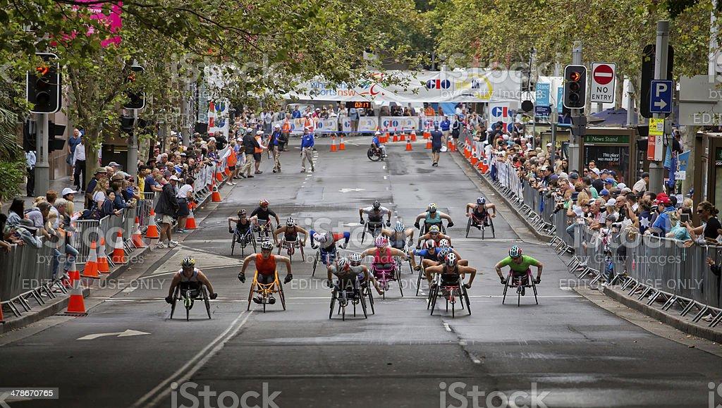 Wheelchair athletes in 10K Sydney race royalty-free stock photo