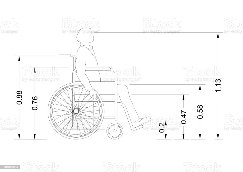 wheelchair blueprint – isolated royalty-free stock photo