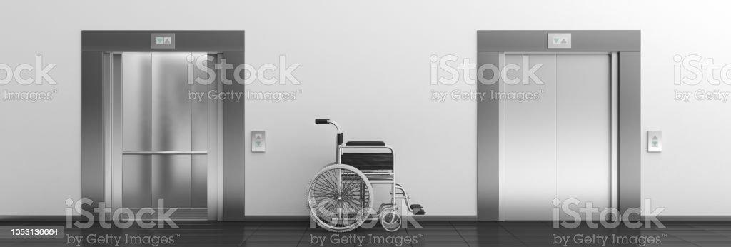 Banner-Rollstuhl leer und Aufzüge mit offenen und geschlossenen Türen. 3D illustration – Foto