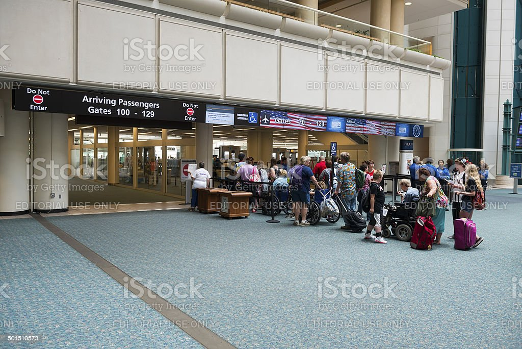 Wheelchair friendly TSA checkpoint at Orlando Airport stock photo