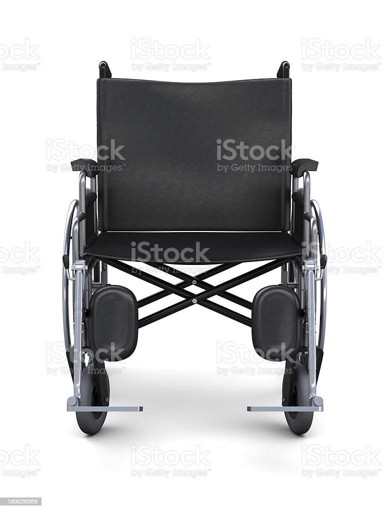 Wheelchair from a front view stock photo