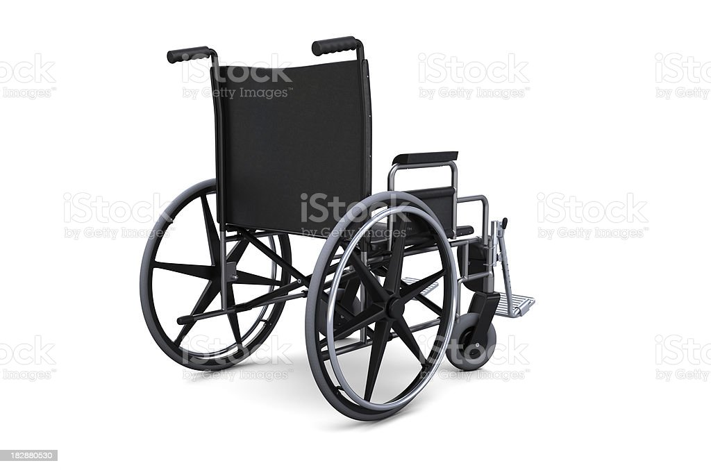 Wheelchair from a rear view stock photo