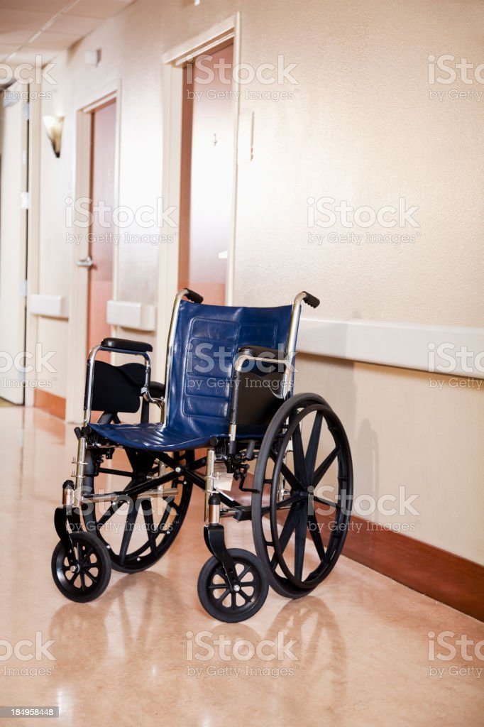 Wheelchair in hospital corridor royalty-free stock photo