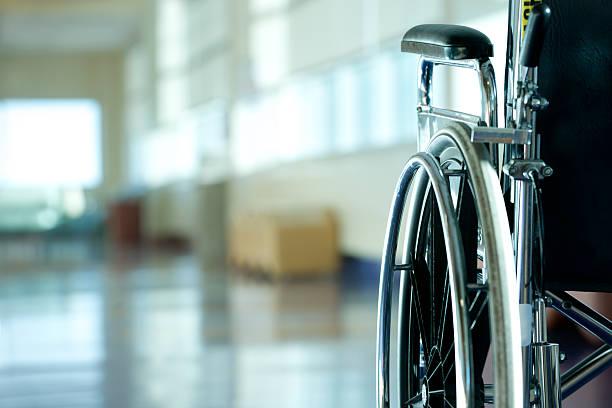 Wheelchair in hospital stock photo