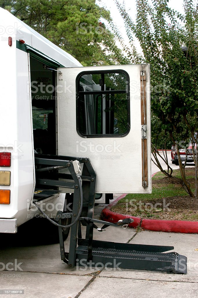 Wheelchair Lift on van. Transportation. Vehicle. Outdoor. No people. royalty-free stock photo