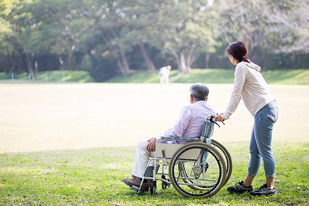 wheelchair old man and helper - 高齢者介護 ストックフォトと画像