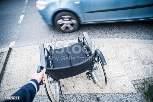 666724598istockphoto Wheelchair on the sidewalk, crossroad 171326211