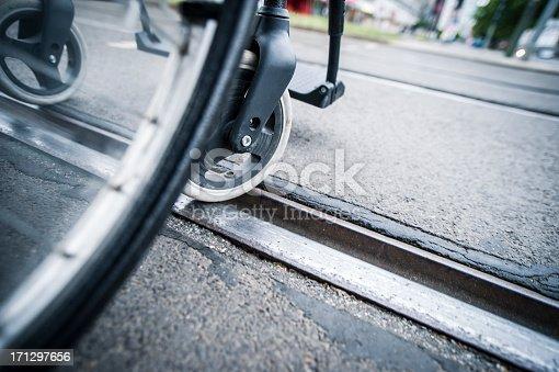666724598istockphoto Wheelchair on the tram railtrack 171297656
