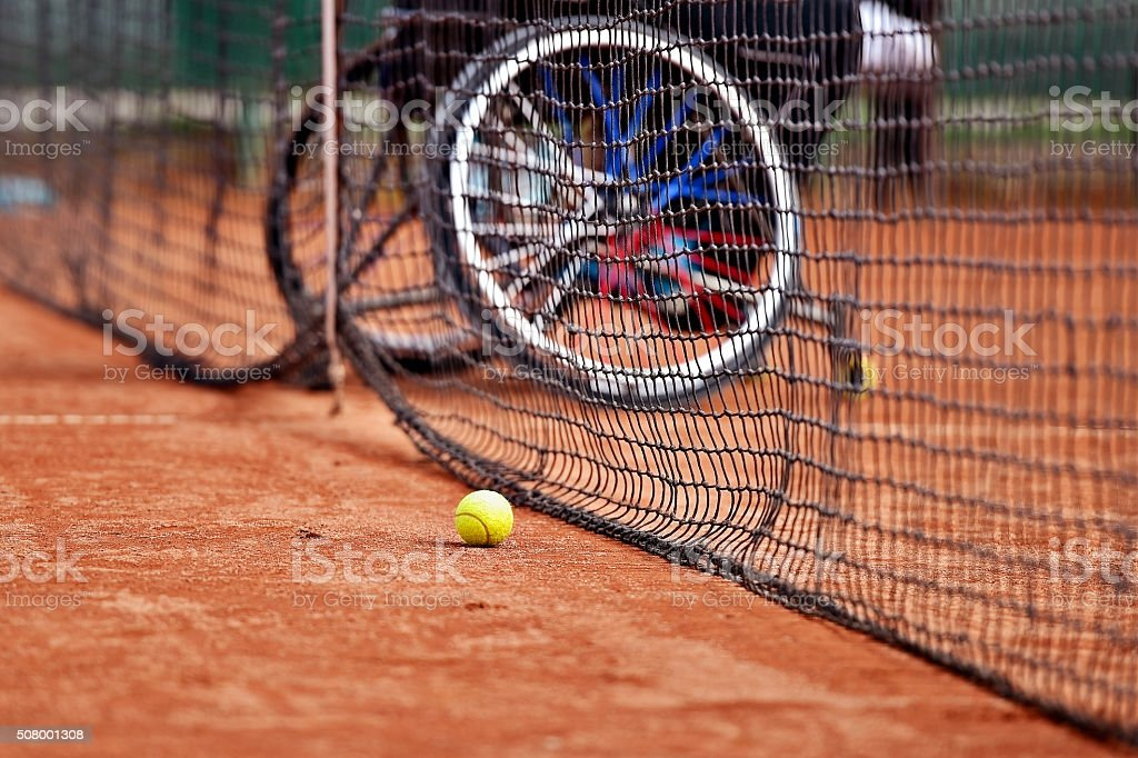 Wheelchair people on tennis court stock photo
