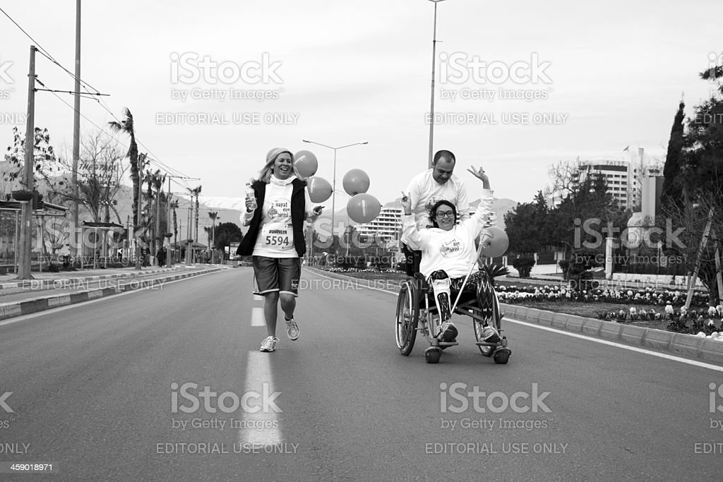 Wheelchair racer stock photo