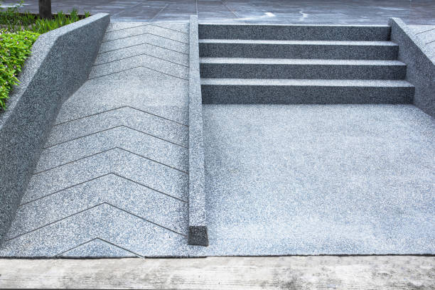 ramp for the wheelchair and stairs for normal people adjoining ramp for the wheelchair and stairs for normal people adjoining ramp stock pictures, royalty-free photos & images