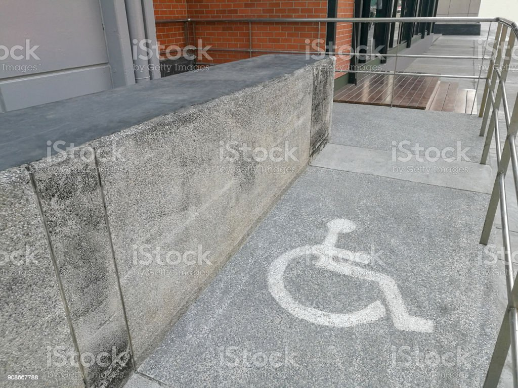 Wheelchair ramp way support for disabled person stock photo
