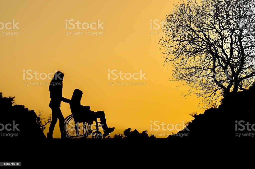 Rollstuhl-silhouette – Foto