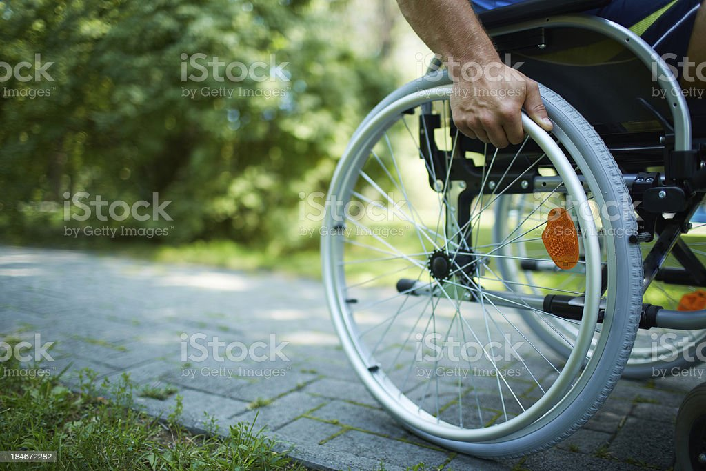 Wheelchair walk stock photo