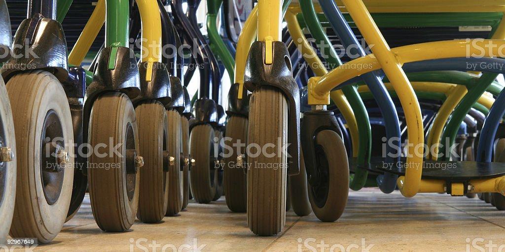 Wheelchair wheels royalty-free stock photo
