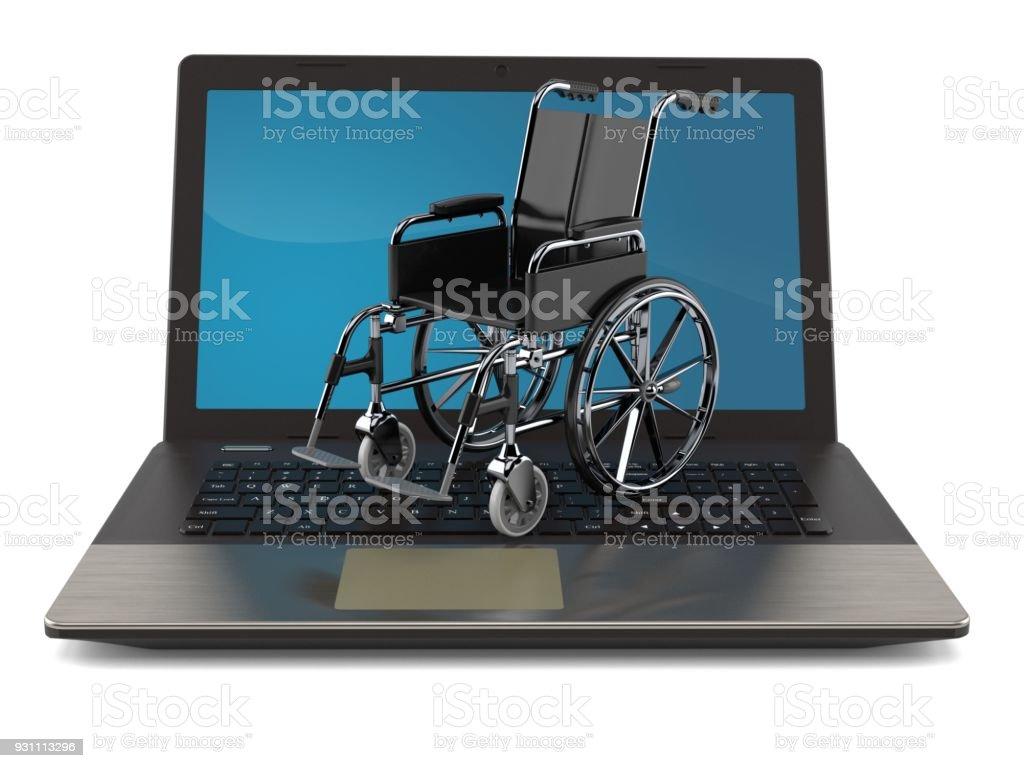 Dizüstü bilgisayar ile tekerlekli sandalye - Royalty-free Aksilik Stok görsel