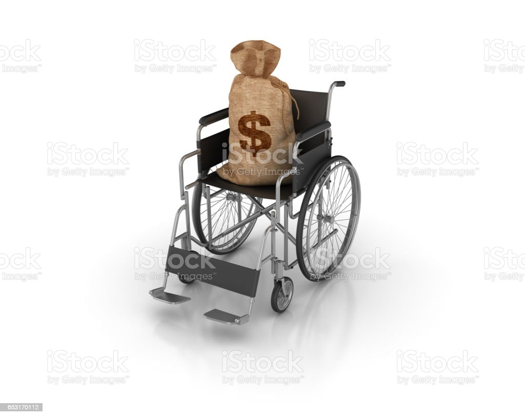 Wheelchair with Money Sack - 3D Rendering stock photo