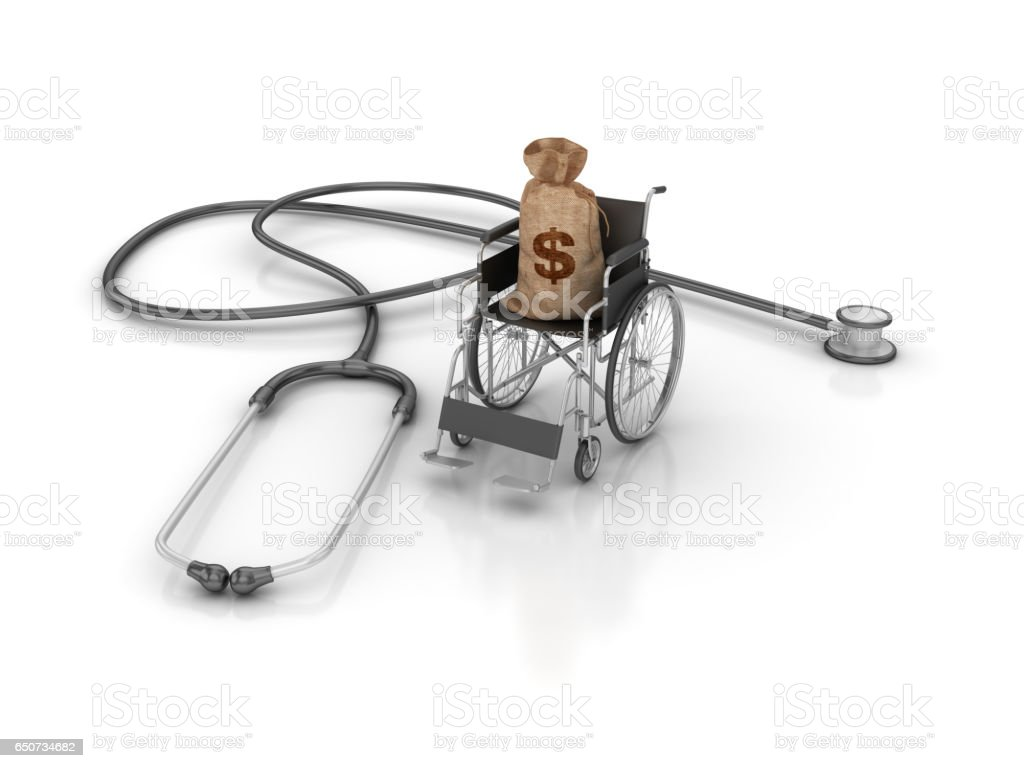 Wheelchair with Stethoscope and Money Sack - 3D Rendering stock photo