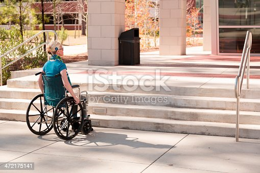 istock Wheelchair-bound woman faces inaccessible stairs. Civil rights. 472175141