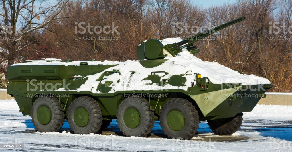 Wheeled amphibious armoured personnel carrier BTR-80 stock photo