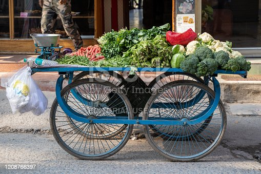 Rishikesh, India - February 22, 2020: Wheeled cart filled with carrots, broccoli, and other vegetables ready to be sold at the market