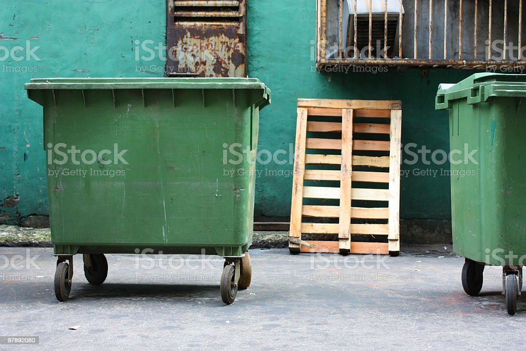 wheeled garbage can royalty-free stock photo