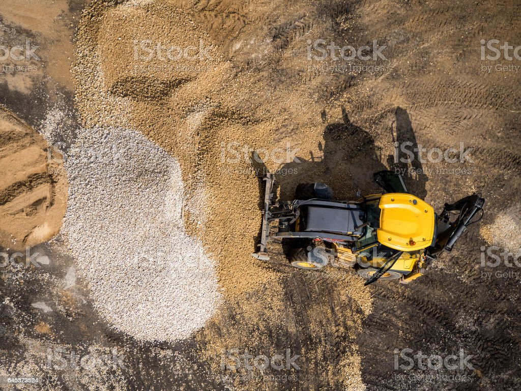 Wheeled loader at construction site stock photo