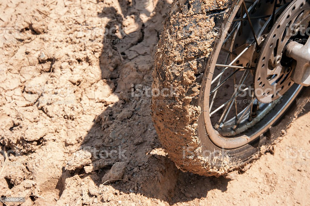 Wheeled Motorcycles with mud stock photo