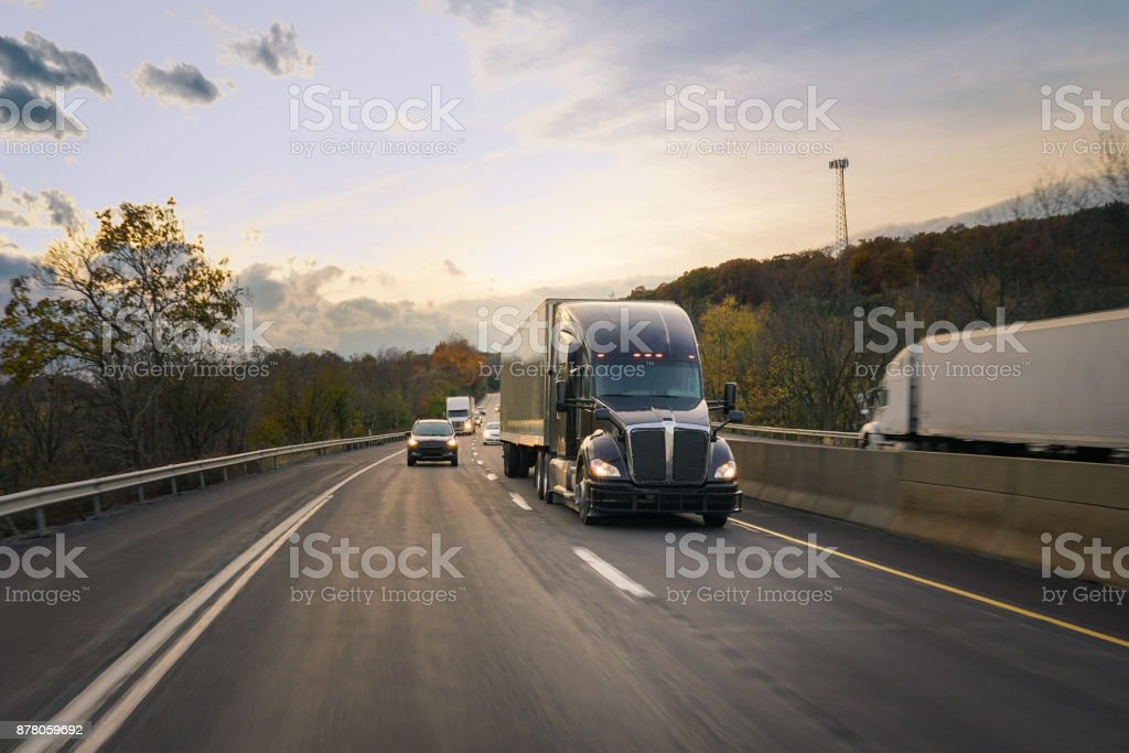 18 wheeler semi truck on the road stock photo