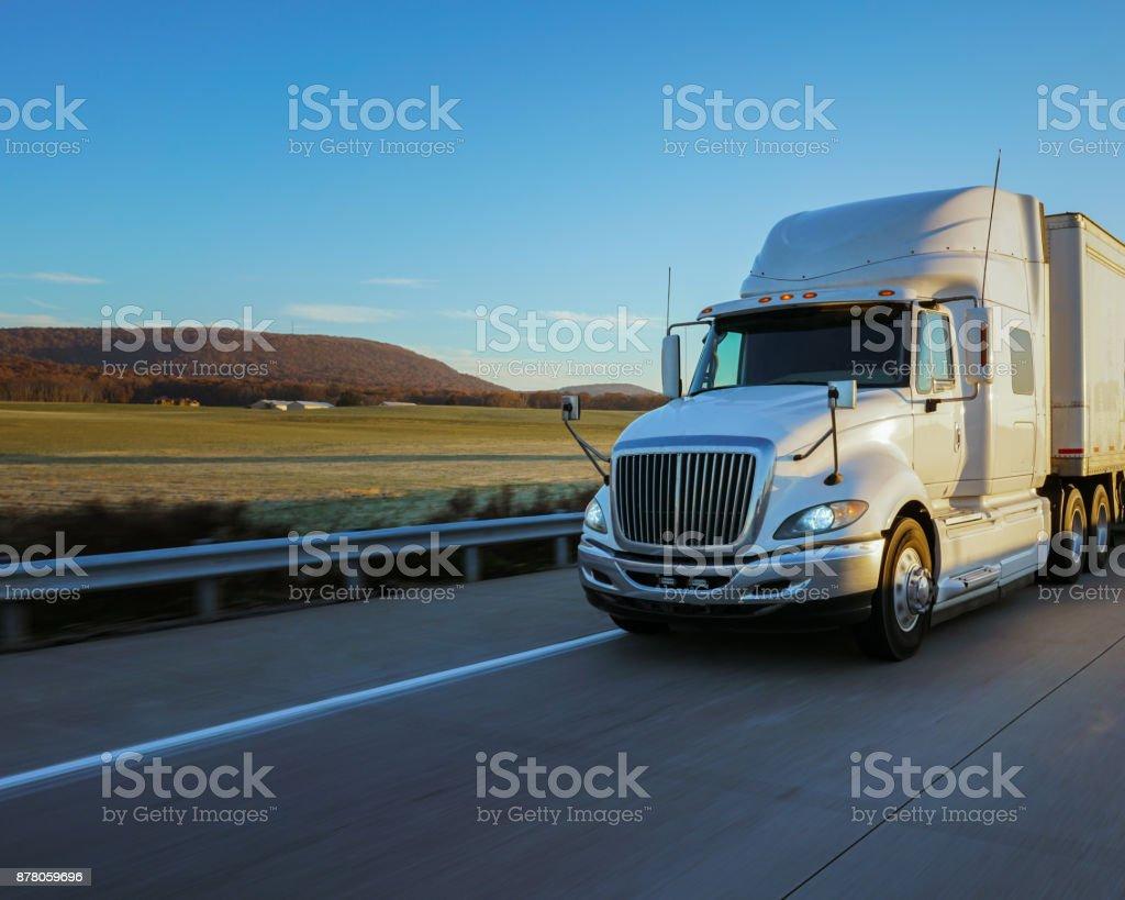 18 wheeler semi truck on the road stock photo