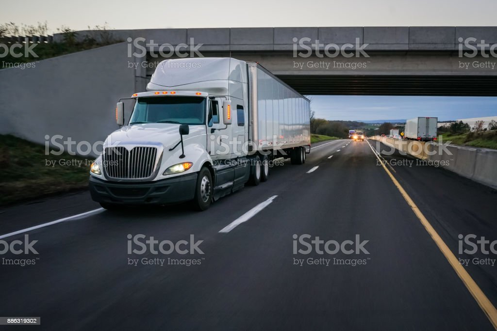 18 wheeler truck on the road stock photo