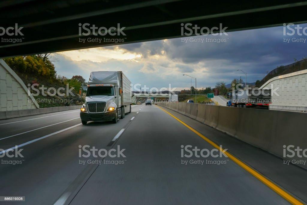 18 wheeler truck on the road stock photo