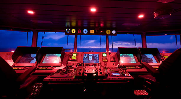 wheelhouse in modern ship - bridge - control panel stock photos and pictures